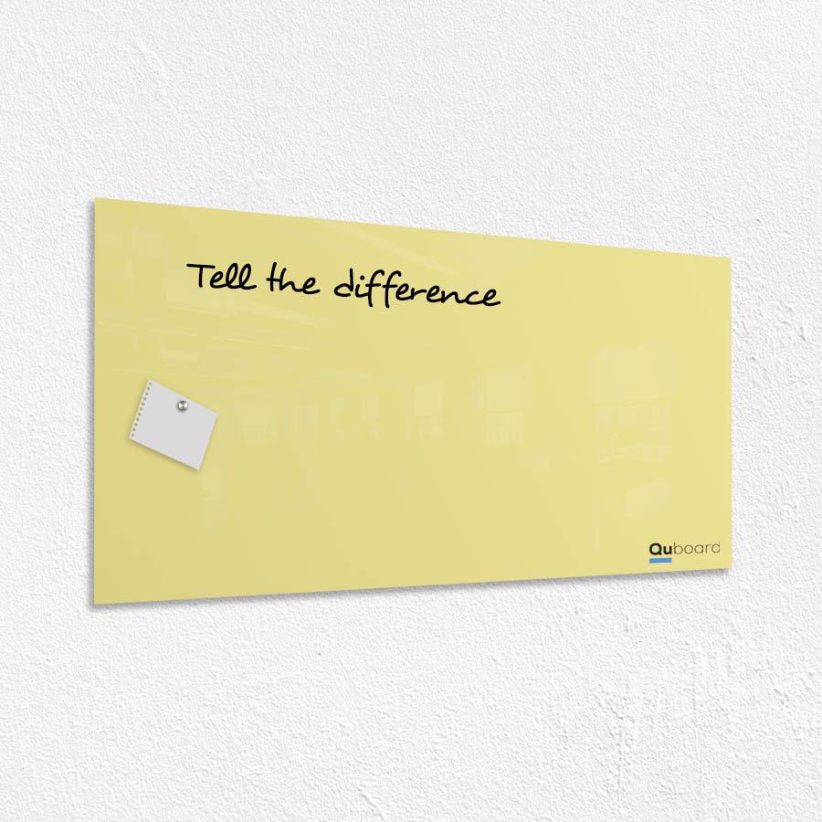 Žiarivá žltá magnetická sklenená tabuľa LABORO | Quboard